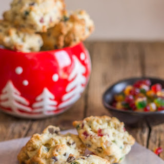 Chocolate Chip and Nut Fruitcake Cookies.
