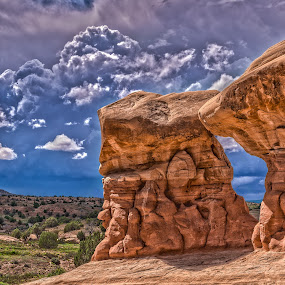 Devil's Garden by Becca McKinnon - Landscapes Caves & Formations ( clouds, escalante, desert, grand staircase, utah, red rock, hile in the rock road, rock, storm,  )