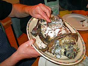 Photo: serving salt-encrusted tilapia