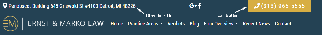 Law firm website call button and directions link example