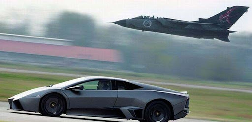 Formula One Car Spyker F8 VII takes on F 16 Fighter Jet