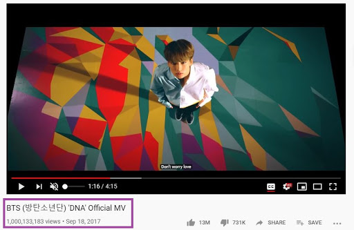 BTS DNA Surpasses 1 Billion Views on Youtube