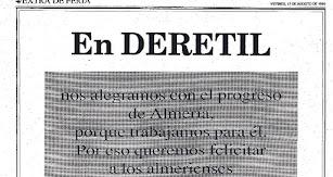 La publicidad de Deretil en la Feria de 1990 hacía alusión al momento histórico que se estaba viviendo con el estreno de recinto ferial.