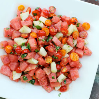 Watermelon Salad with Tomato and Cucumber.