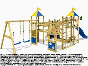 Photo: MK477 , 4 tornyú lovagvár .1 torony : 120 cm dobogómagasság , tető nélkül , rámpa feljárat .2 torony : 120 dobogómagasság ,  függőleges mászófal fa fogásokkal , tetővel . a két tornyot függőhíd köti össze. , 3 torony : 150 dobogómagasság , tetővel , alul  piknikasztal . az 1,toronnyal  egy fix híd köti össze , alatta alacsony homokozókerettel . 4 torony :  tető nélküli , 100 cm dobogómagas sággal, kötéllétrával .  a tornyokhozegyik irányban egy óriás mászóháló fallal , a másik irányban egy  gerenda híddal kapcsolódik . ára   550 000 ft. hintamodul 30 000 ft , hintacsuklók 1 000 ft/db , hinták 4 000 ft/db-tól , csúszda 25 000 ft  kapaszkodók 1 000 ft/db .  műanyag fogások 1 400 ft/db , kormány 4 000 ft-tól , távcső 4 000 ft-tól .festés MILESI lazúrral 2 rétegben 210 000 ft . szállításra  külön érdeklődjön , szerelés 80 000 ft , beton tuskós talajhoz rögzítés  anyaggal 3 500ft/db-tól . a képen egy számítógépes grafika látható , a termék a valóságban kis mértékben eltérő külalakú !