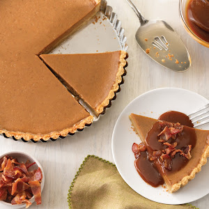 Sweet Potato Tart with Candied Bacon and Caramel Sauce