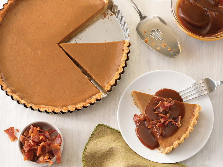 Sweet Potato Tart with Candied Bacon and Caramel Sauce Recipe