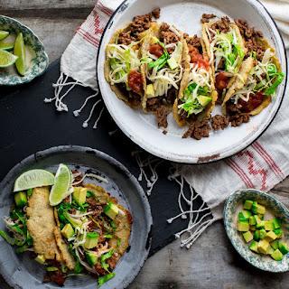 Cauliflower Tortilla Beef Tacos.