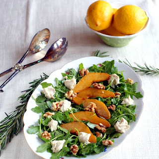 Pan-Glazed Pear and Arugula Salad with Cashew Goat Cheese and Walnuts.