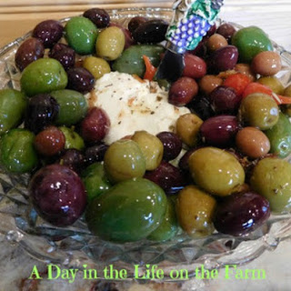 Goat Cheese with Lemon and Thyme Olives.