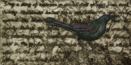 """Photo: Grackle, 10 x 20"""", collagraph with hand coloring"""