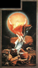 Photo: Title: Isenheim Altarpiece: Resurrection Artist: Matthias Grünewald Medium: Oil on wood Size: 269 x 154 cm Date: 1516 Location: Unterlinden Museum, Colmar, France. http://iconsandimagery.blogspot.com/2009/07/isenheim-altarpiece-resurrection.html