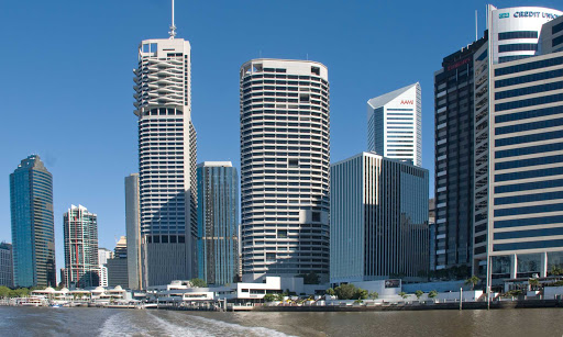 Australia-Brisbane-waterfront - Business district lining the waterfront of Brisbane, Queensland, Australia.