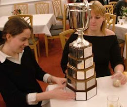 Photo: Lady Milne Trophy with Briony Youngs(l) and Susan Stockdale(r)