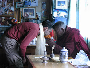 Photo: Vik being blessed by Llama Geshi in Pangboche.