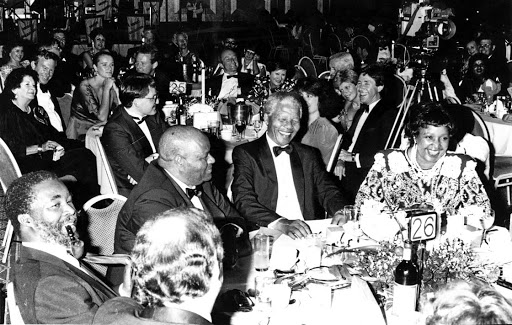 ANC stalwarts Thabo Mbeki, Roger Sishi and Nelson and Winnie Mandela attend a banquet at the Carlton Hotel in 1991