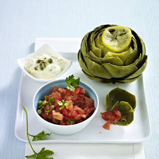 Artichokes with Tomato Salsa and Cream Cheese Dip.