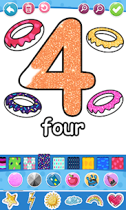 Glitter Number and letters coloring Book for kids 10