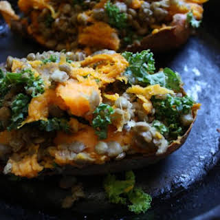 Twice Baked Lentil Stuffed Sweet Potatoes.