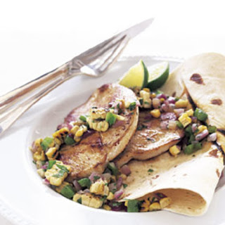 Chipotle Turkey Cutlets with Charred Corn Salsa.