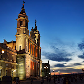 Beautiful sunset in Madrid  by Nelida Dot - Buildings & Architecture Places of Worship ( blue sky, spain, city, sunset, madrid, lights, cathedral, colors,  )
