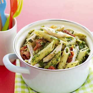 Penne With Pesto, Chicken And Sun-dried Tomatoes.