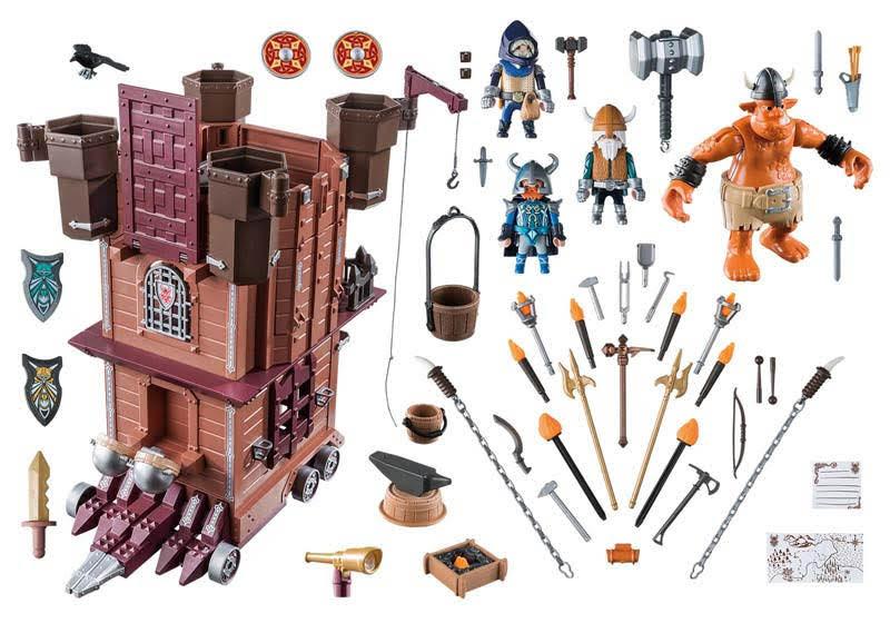 Contenido real de Playmobil® 9340 Fortaleza Móvil Enanos