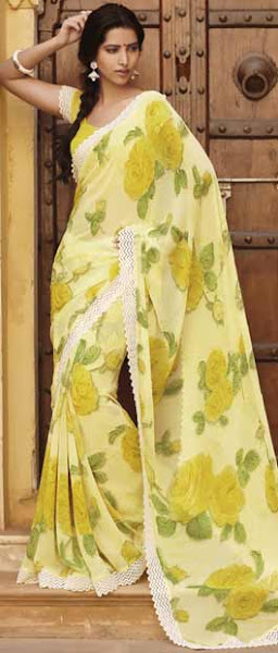 Photo: Cream and Lemon Yellow Faux Georgette Saree With Blouse  Item Code: STS1888  Price: US$ 46.99  Shop Now @ http://www.utsavfashion.com/store/sarees-large.aspx?icode=sts1888