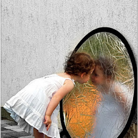...and who are you? by Gabor Dvornik - Babies & Children Children Candids ( child, reflection, girl, sweet, emotion )