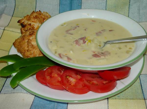 Pam's Cheesy Pancetta And Corn Chowder For 2