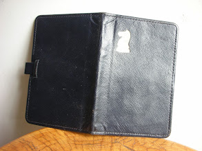 Photo: CH183; English Moroccan leather pocket set c1940, with unusual sliding clip to hold the set in closed position