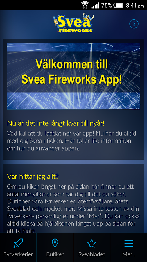 Svea Fireworks Officiella APP- screenshot