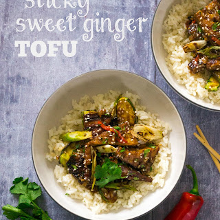 Sticky Sweet Ginger Tofu with Baby Courgettes.