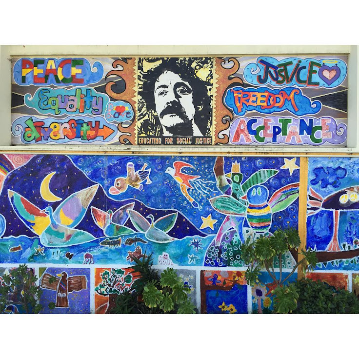 The mosaic filled facade of Harvey Milk Civil Rights Academy.