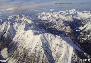 Photo: Vision aérienne annotée du pic Méchant au pic du Midi de Bigorre aux premiéres neiges d'automne.