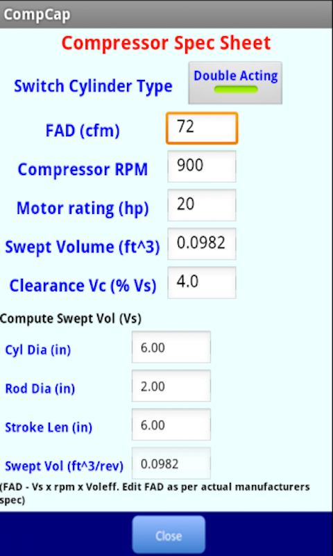 Compressor Capacity- screenshot