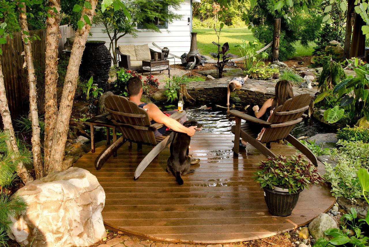 Photo: Backyard Koi Fish Pond with Deck in Rockaway, NJ