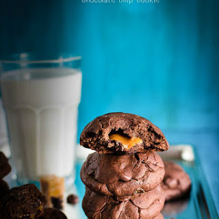 Caramel Stuffed Double Chocolate Chip Cookies..