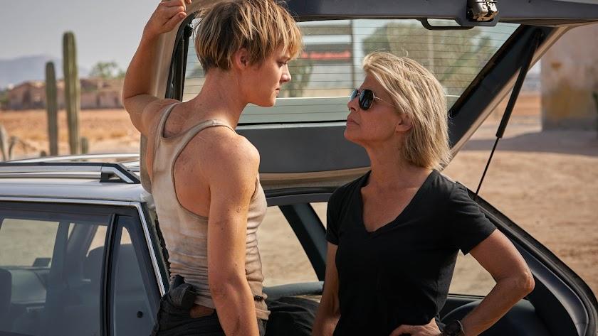 imagen de 'Terminator:Destino oscuro' con Mackenzie Davis y Linda Hamilton. (Foto: Kerry Brown)