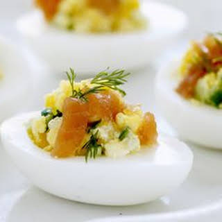 Eggs Stuffed with Smoked Salmon and Cucumbers.
