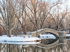 Photo: Snowy bridge and bench by a lake at Eastwood Park in Dayton, Ohio.