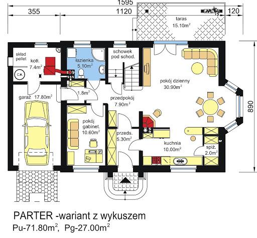 BW-17 wariant - Rzut parteru - propozycja adaptacji - wersja z wykuszem