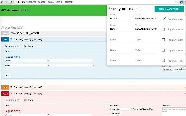 API Doc Token Switcher