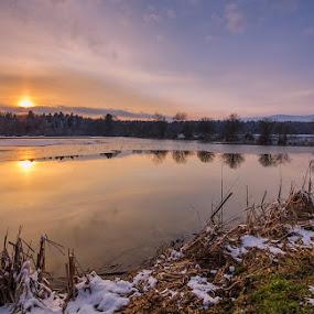 By the pond by Peter Zajfrid - Landscapes Sunsets & Sunrises ( water, slovenija, sunset, slovenia, reflections, rače, pond )