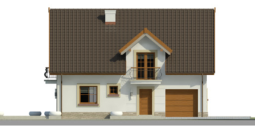 Dom przy Alabastrowej 35 - Elewacja przednia