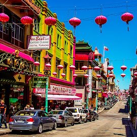 More Chinatown by Jennifer  Loper  - City,  Street & Park  Street Scenes ( blue sky, street, chinatown, california, san francisco, colorful )