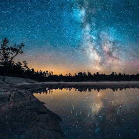Milky Way Over Clear Lake by Trevor Pottelberg - Landscapes Starscapes ( reflection, grundy lake provincial park, t.pottelberg scenics, heaven, silhouette, twilight, ontario scenic photographer, ontario, scenic, astronomy, milky way, northern, constellations, ontario landscape photographer, t.pottelberg, stars, ontario landscapes, northern ontario, summer, night, clear lake, granite,  )