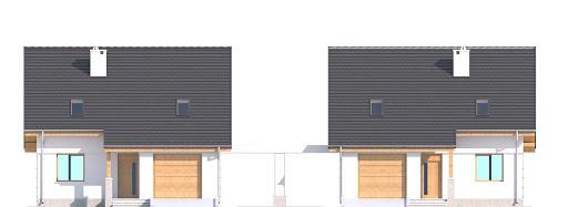 Biała z garażem i wiatą bliźniak A1-BL - Elewacja przednia
