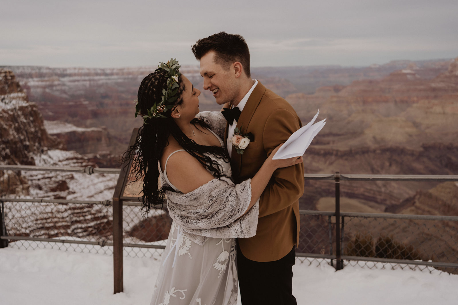 First Kiss during Grand Canyon wedding