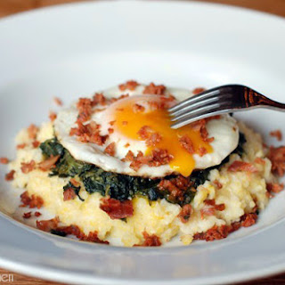 Polenta with Creamy Spinach, Fried Egg and Chorizo